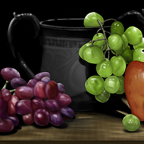 Grapes with Vase